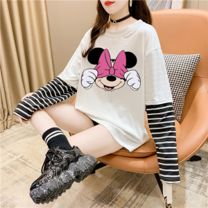 CX5080# 最便宜服装批发 新款好质量混纺捂眼米妮印花条纹拼接假两件长袖T恤宽松上衣