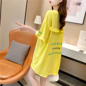 YF26981# 春夏韩版宽松印花字母圆领大码女装中长款短袖t恤女