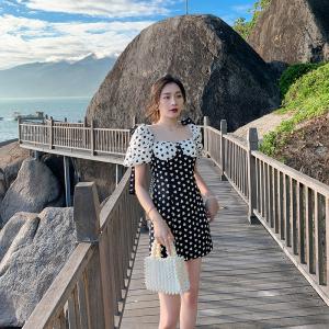YF28837# 新款法式泡泡袖连衣裙 服装批发女装直播货源