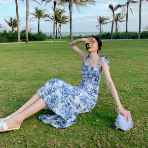 YF30658# 新款海边度假连衣裙夏荷叶边吊带裙仙 服装批发女装货源