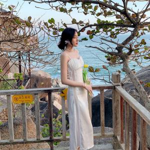 YF30659# 新款吊带连衣裙海边度假白色礼服裙子 服装批发女装货源