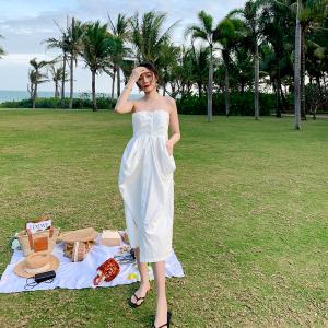 YF28840# 新款白色抹胸连衣裙 服装批发女装直播货源