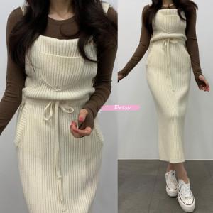YF27538# 口袋系带收腰可爱针织背带裙连衣裙 服装批发女装直播货源
