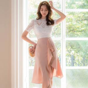 YF27422# 新款韩版气质时尚蕾丝上衣+半身裙套装两件套 服装批发女装货源