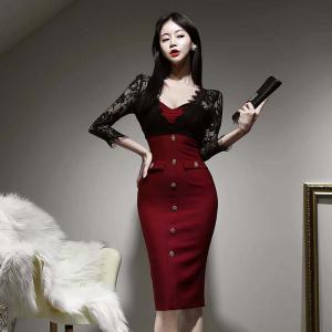 YF30005# 春装新款蕾丝拼接名媛性感包臀连衣裙 女装批发服装货源