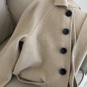 YF28411# 双面羊绒大衣女中长款韩版呢子高端休闲宽松小个子羊毛双面呢外套 服装批发女装直播货源