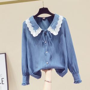 YF29307# 春季娃娃领衬衫女设计感轻熟法式蕾丝边泡泡袖上衣 服装批发女装货源