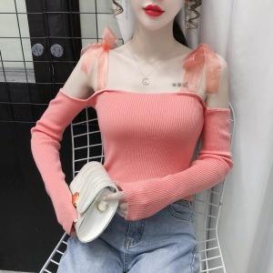 YF30977# 针织打底衫女露肩修身长袖黑色一字肩新款洋气外穿内搭上衣潮 服装批发女装直播货源