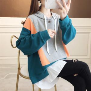 YF28044# 棉好质量韩版拼接中长款印花春季薄款小卫衣女 服装批发女装直播货源