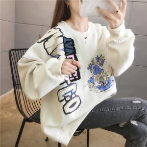 YF28047# 棉好质量春季日韩版新款刺绣圆领中长款薄款卫衣 服装批发女装直播货源