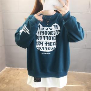 YF28050# 棉好质量春季韩版圆领宽松上衣薄款卫衣女 服装批发女装直播货源