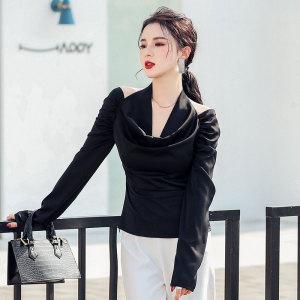 YF28066# 设计感衬衫女春季新款超A露肩V领挂脖上衣甜酷风性感黑上衣 服装批发女装直播货源