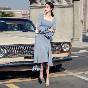 YF35885# 法式方领开叉连衣裙春季新款灯笼袖气质高腰显瘦长袖中长裙 服装批发女装直播货源