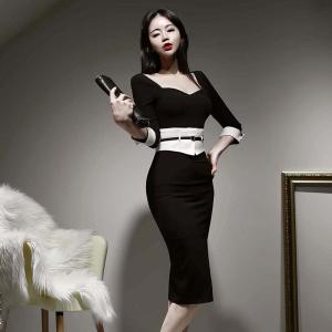 YF30006# 春装新款名媛性感收腰显瘦包臀连衣裙 女装批发服装货源