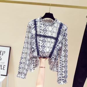 YF29309# 春季法式浪漫仙女风洋气减龄刺绣荷叶边雪纺衫衬衫 服装批发女装货源
