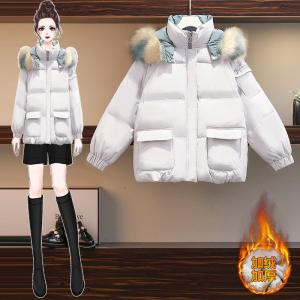 YF28085# 大码女装大毛领羽绒棉服冬季新短款棉衣ins潮加厚外套 服装批发女装直播货源