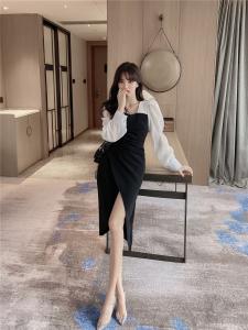 YF28258# ~复古港风气质修身连衣裙不规则下摆长裙 服装批发女装直播货源