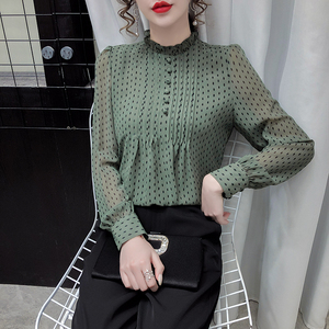 YF30983# 春款女士雪纺衬衫女装春装新款潮时尚上衣打底高贵洋气小衫 服装批发女装直播货源