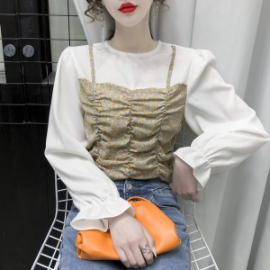 YF30985# 春装新款韩版抽绳套头碎花拼接假两件显瘦长袖衬衫女 服装批发女装直播货源