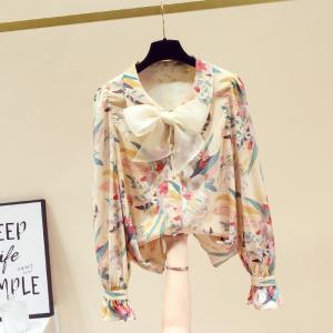 YF29312# 春新款雪纺衬衫女设计感小众碎花洋气打底上衣长袖 服装批发女装货源
