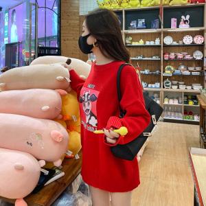 YF29616# 韩国东大门宽松毛衣裙春季新款女装时尚卡通牛上衣女 服装批发女装直播货源
