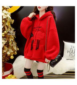 YF29016# 加绒加厚本命年红色圣诞卫衣女羊羔毛外套潮 服装批发女装直播货源