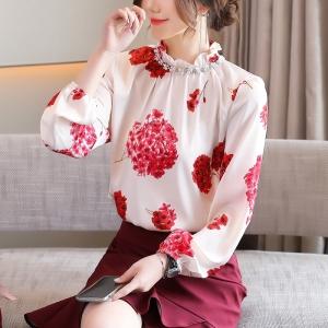 YF42874# 钉珠镶钻立领上衣春季新款印花雪纺衬衫女长袖时尚气质小衫