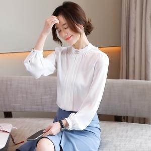 YF43706# 春韩版真丝衬衫女灯笼袖褶皱立领宽松套头雪纺上衣衬衣女