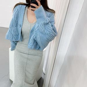 YF29959# 慵懒风麻花加厚V领针织毛衣外套开衫 女装批发服装货源