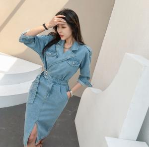 YF29962# 春款韩版收腰显瘦中长款开叉长裙牛仔裙连衣裙 女装批发服装货源