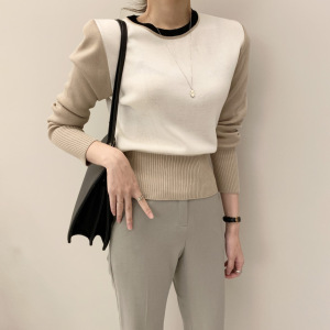 YF29964# 韩国撞色短款针织上衣女新款百搭修身显瘦毛衣打底衫 女装批发服装货源