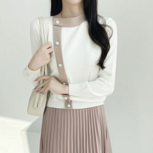 YF29965# 韩国早春气质大小姐撞色镶边斜纽单排扣针织毛衣外套 女装批发服装货源