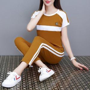 YF30495# 休闲运动套装女夏季拼接学生运动服时尚短袖九分裤两件套 服装批发女装货源