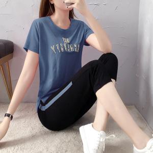 YF30499# 休闲运动服套装女夏季学生宽松绣花七分裤时尚短袖两件套 服装批发女装货源