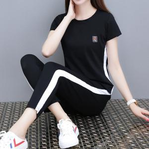 YF30503# 夏季运动套装女新款宽松九分裤大码短袖上衣休闲两件套潮 服装批发女装货源