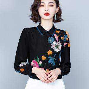 YF31526# 黑色重磅真丝衬衫女春装新款时尚印花长袖高端气质桑蚕丝上衣 服装批发女装直播货源