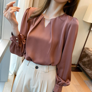 YF46877# 春季新款休闲时尚气质衬衫法式v领女长袖宽松洋气雪纺衫