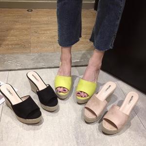 X-25138# 坡跟凉鞋女夏季韩版编织麻绳厚底高跟防水台百搭绒面拖鞋 女鞋批发鞋子货源
