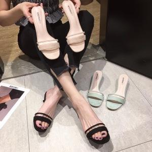 X-25132# 小CK凉鞋夏季猫跟细跟日常绒面一字带拖鞋 女鞋批发鞋子货源