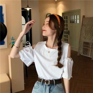 YF31546# 夏季露肩系带显瘦T恤女短袖圆领上衣宽松 服装批发女装直播货源