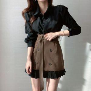 YF50822# 春季新款韩版Chic长袖衬衫百褶连衣裙+叠穿半身裙两件套女装