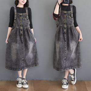 YF31796# 春季新款黑色牛仔连衣裙女文艺大码背带裙 服装批发女装直播货源