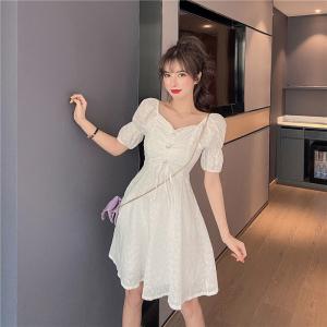 YF32470# 新款韩版白色蕾丝泡泡袖气质女神范收腰显瘦连衣裙 服装批发女装直播货源