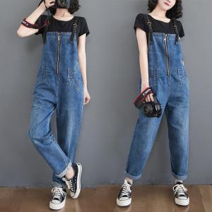 YF31797# 春季新款牛仔背带裤女韩版文艺大码 服装批发女装直播货源