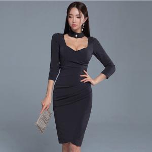 YF32484# 春装新款收腰显瘦包臀7分袖连衣裙 服装批发女装直播货源