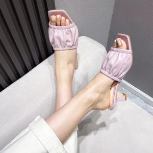 X-25134# 拖鞋细跟日常纯色折皱一字带高跟鱼嘴凉鞋 女鞋批发鞋子货源
