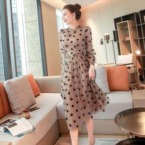 YF33974# 女装春装轻奢名媛高端气质长袖高腰连衣裙中长款仙女裙