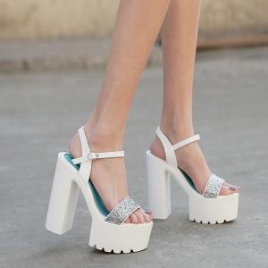 X-25200# 粗跟防水台银色一字带凉鞋34-40码 女鞋批发鞋子货源