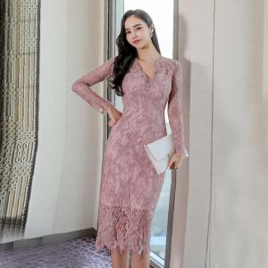 YF34605# 春装新款韩版高端气质V领修身中长款蕾丝包臀时尚连衣裙 服装批发女装直播货源