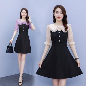 YF40427# 拼接小黑裙雪纺复古港风温柔泡泡袖气质短袖女连衣裙